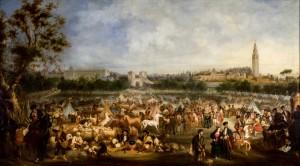 1852 - Andrés Córtes y Aguilar. Dos hermanas. Feria de Abril en el Prado de San Sebastián