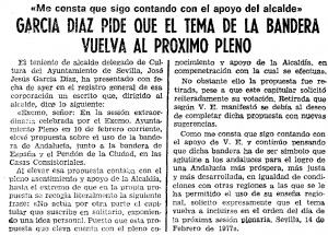 Segunda petición de votación por parte de José Jesús García Díaz. ABC de Sevilla 14/02/1977